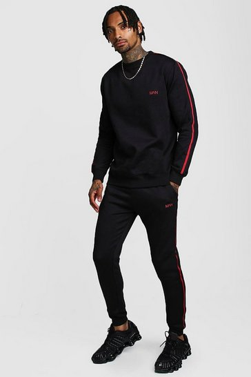 Black Original MAN Embroidered Sweater Tape Tracksuit