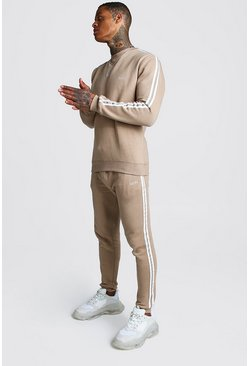Taupe Original MAN Embroidered Sweater Tape Tracksuit