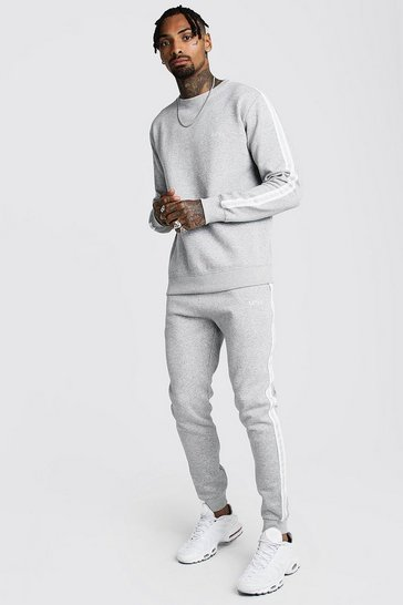 Grey marl Original MAN Embroidered Sweater Tape Tracksuit