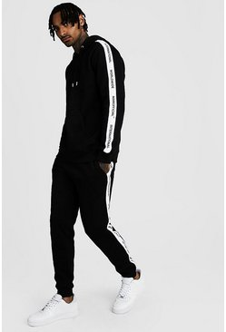 Herr Black Hooded Tracksuit With MAN Official Tape