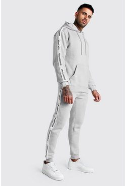 Herr Grey Hooded Tracksuit With MAN Official Tape