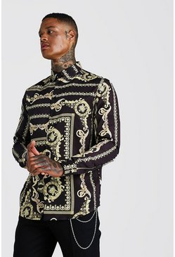 Herr Black Baroque Print Long Sleeve Shirt
