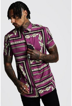 Herr Purple Short Sleeve Baroque Print Shirt