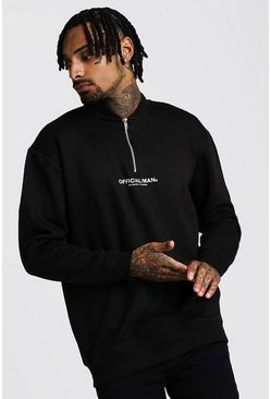 Mens Black Loose Fit MAN Official 1/4 Zip Neck Sweatshirt
