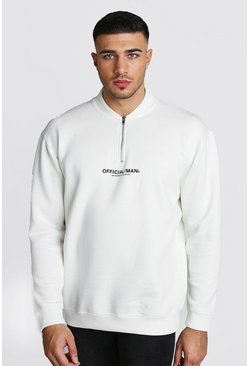 Mens Ecru Loose Fit MAN Official 1/4 Zip Neck Sweatshirt