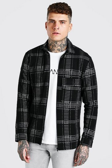 Mens Black Check Jacquard Utility Coach Overshirt