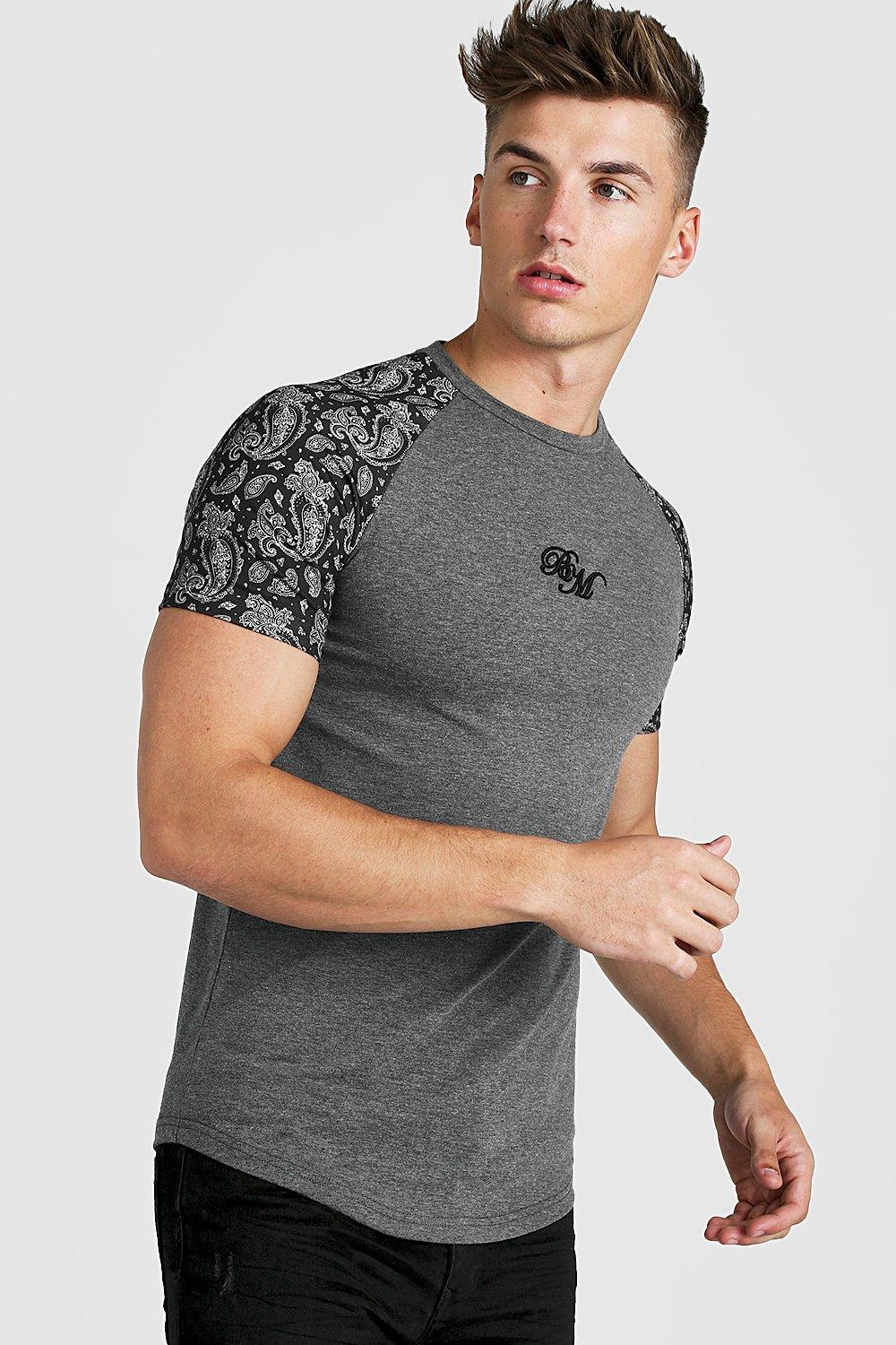 BM Muscle Fit Embroidered Paisley Print T Shirt | boohoo