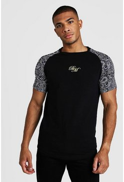 Herr Black BM Muscle Fit Embroidered Paisley Mix Print T-Shirt