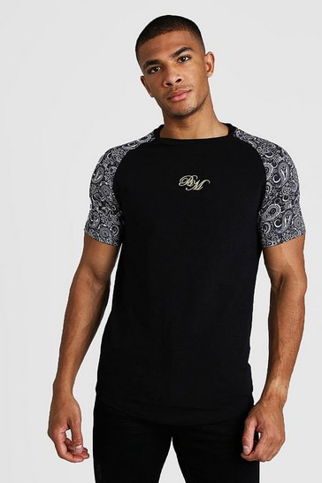 Mens Black BM Muscle Fit Embroidered Paisley Mix Print T-Shirt