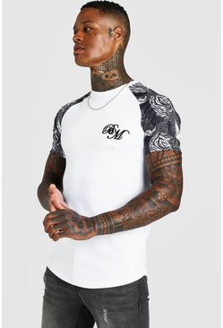 White B&M Muscle Fit Embroidered Animal Print T-Shirt