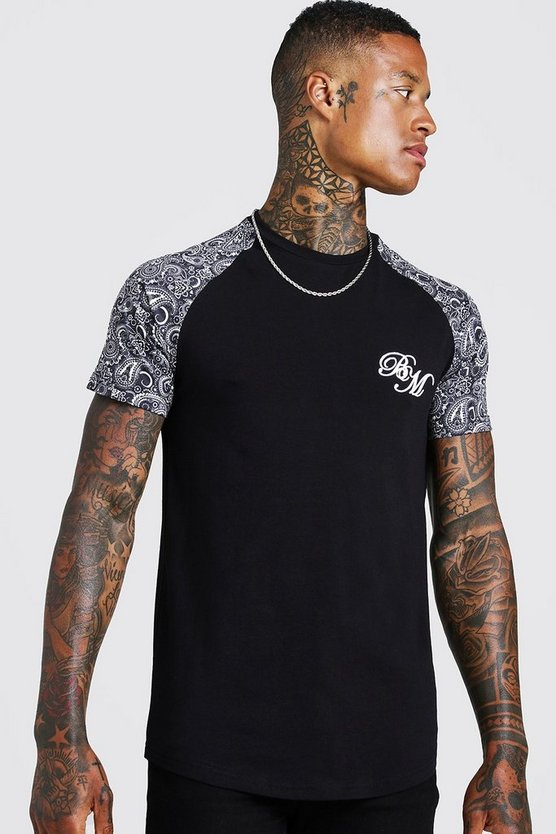Black BM Embroidered Paisley Sleeve Print T-Shirt