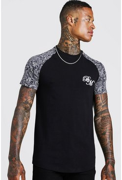 Herr Black BM Embroidered Paisley Sleeve Print T-Shirt