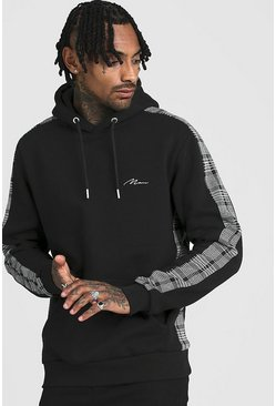 Herr Black MAN Signature Hoodie With Jacquard Side Panels