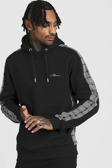 Mens Black MAN Signature Hoodie With Jacquard Side Panels