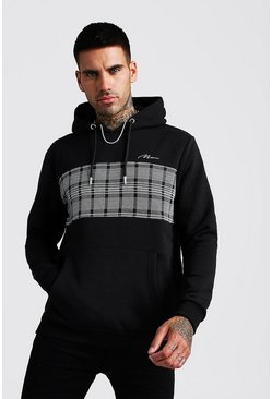 Black MAN Signature Jacquard Panel Hoodie