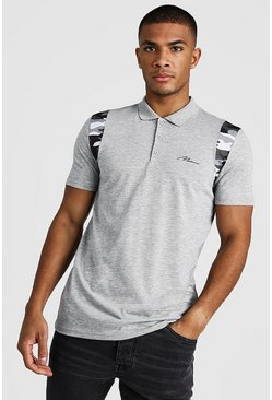 Mens Grey MAN Signature Camo Shoulder Muscle Fit Polo
