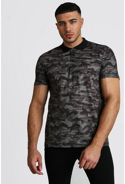 Herr Khaki MAN Signature Print Polo Shirt