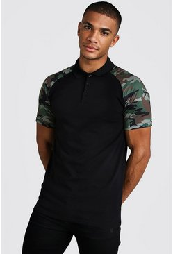 Mens Black Muscle Fit Camo Sleeve Raglan Polo Shirt