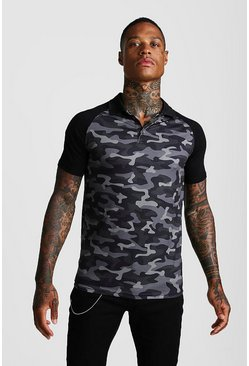 Mens Navy Camo Print Raglan Polo Shirt
