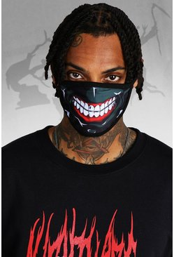 Mens Black Halloween Mouth Print Mouth Mask