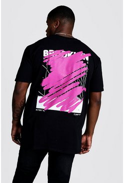 Mens Black Big And Tall Graffiti Cover Back Print T-Shirt