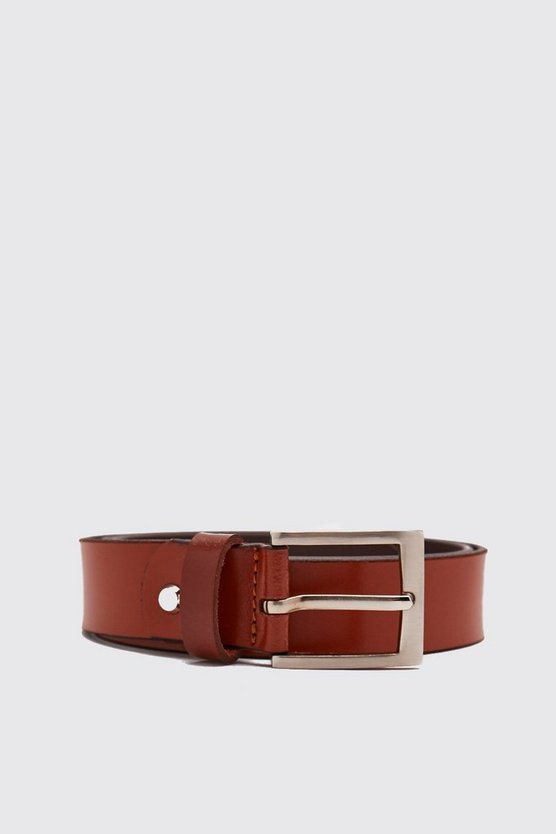 Tan Real Leather Smooth Belt With Roller Buckle