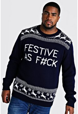 Herr Navy Big And Tall Festive Slogan Christmas Jumper