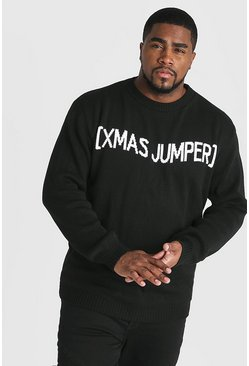 Mens Black Big And Tall Slogan Christmas Jumper