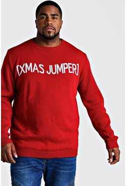 Red Big And Tall Slogan Christmas Jumper
