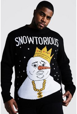 Mens Black Big And Tall Snowtorious Christmas Jumper