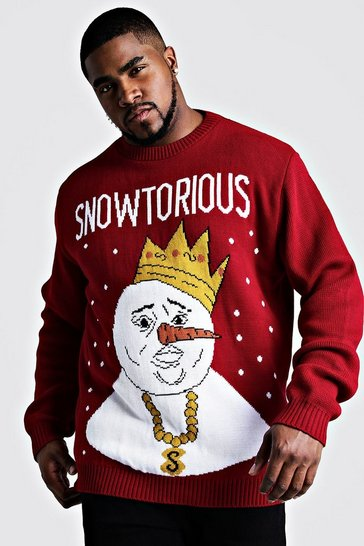 Mens Red Big And Tall Snowtorious Christmas Jumper