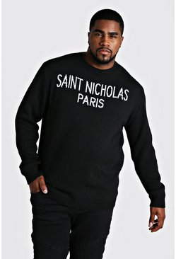 Mens Black Big And Tall Saint Nicholas Christmas Jumper