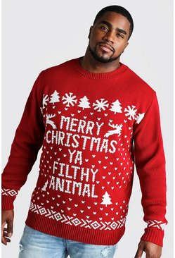 Red Big And Tall Filthy Animal Christmas Jumper