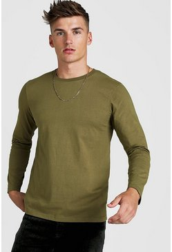 Mens Khaki Basic Long Sleeve T-Shirt