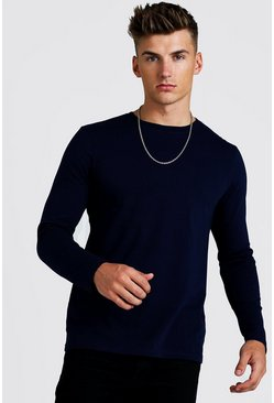 Mens Navy Basic Long Sleeve T-Shirt