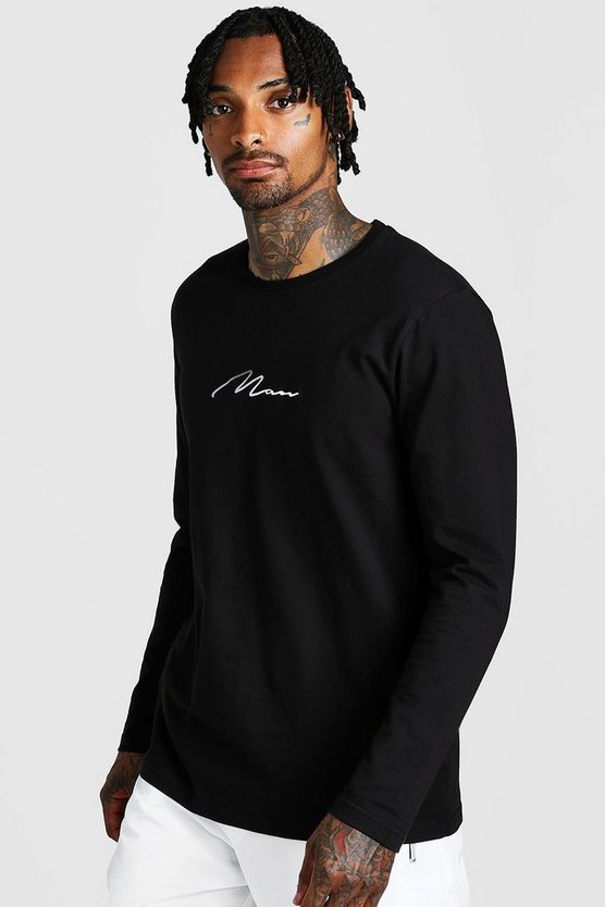 Mens Black MAN Signature Long Sleeve T-Shirt