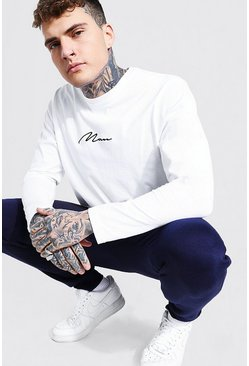 Mens White MAN Signature Long Sleeve T-Shirt