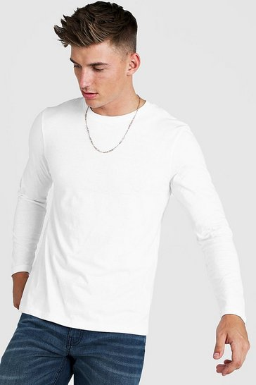 Mens White Long Sleeve Raglan T-Shirt