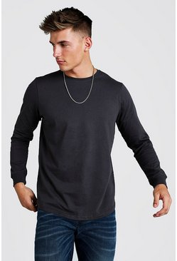 Mens Charcoal Long Sleeve T-Shirt With Curved Hem