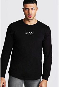 Mens Black Original MAN Long Sleeve Curved Hem T-Shirt