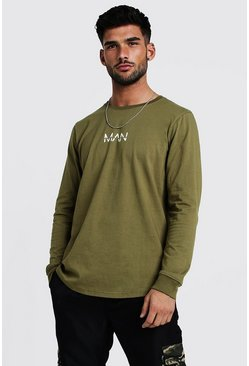 Mens Khaki Original MAN Long Sleeve Curved Hem T-Shirt