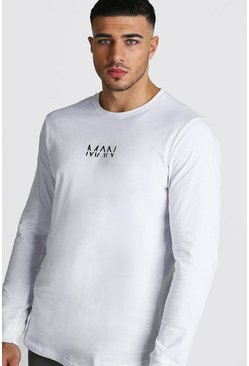 Herr White Original MAN Long Sleeve Curved Hem T-Shirt