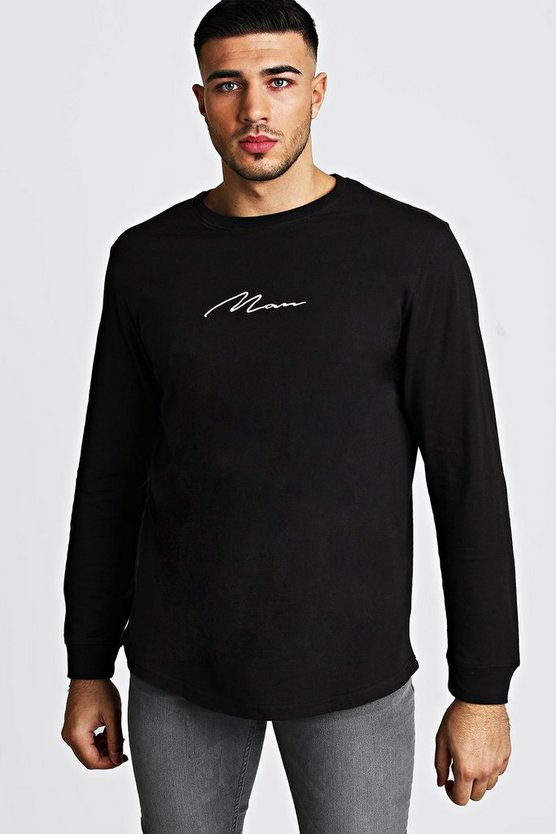 Black MAN Signature Long Sleeve Curved Hem T-Shirt