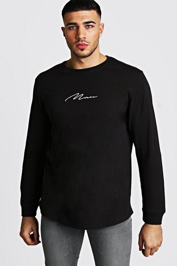 Mens Black MAN Signature Long Sleeve Curved Hem T-Shirt