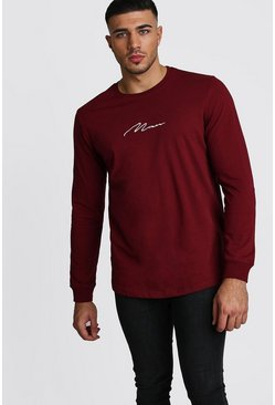 Mens Burgundy MAN Signature Long Sleeve Curved Hem T-Shirt