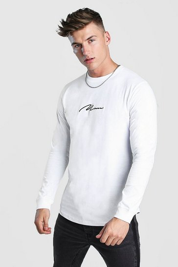 Mens White MAN Signature Long Sleeve Curved Hem T-Shirt