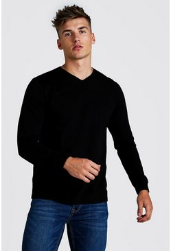 Mens Black Basic Long Sleeve V Neck T-Shirt