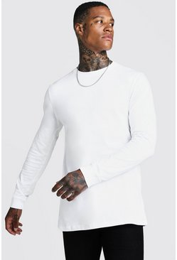 Mens White Long Sleeve Longline T-Shirt