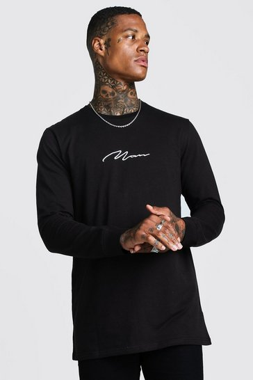 Mens Black MAN Signature Long Sleeve Longline T-Shirt