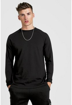 Mens Black Long Sleeve Longline Curved Hem Raglan T-Shirt